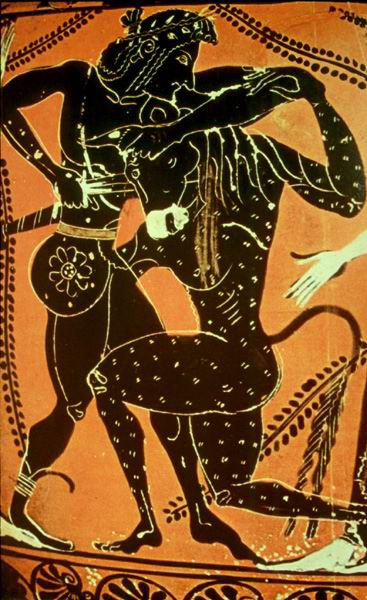 6th-century pottery image of Theseus and the Minotaur